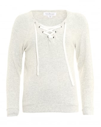 Womens Billow Sweat, Lace Up Neck Grey Ash Top