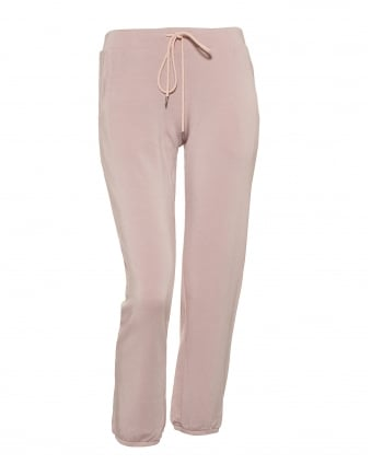 Womens Bretta Cropped Joggers, Pink Fleece Trackpants