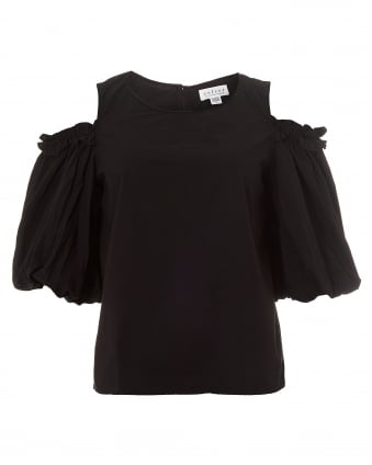 Womens Darvine Cold Shoulder Puff Sleeves Black Top