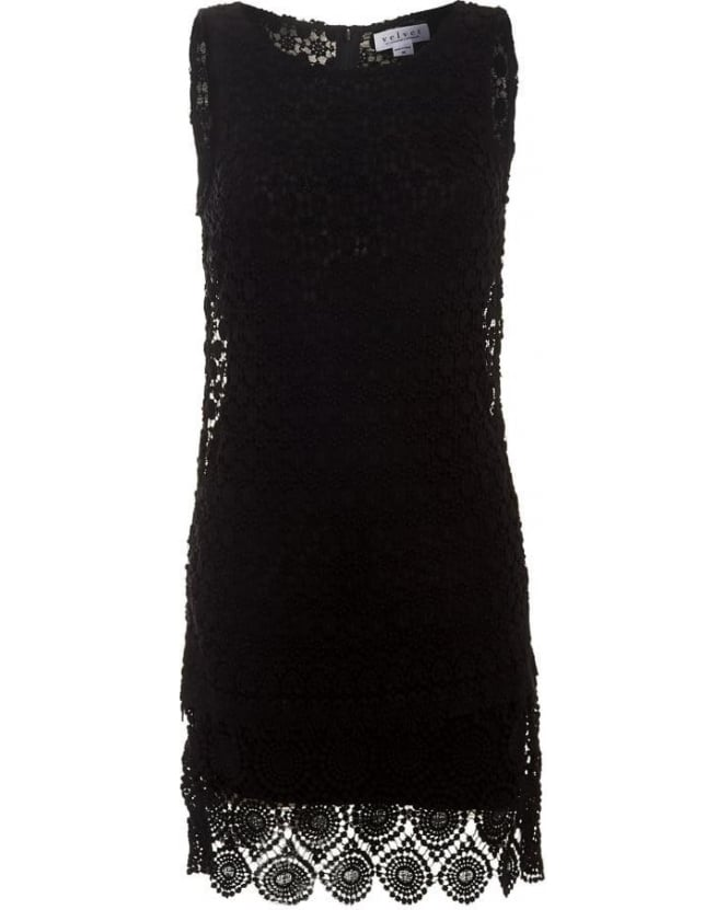 Velvet by Graham & Spencer Womens Dress Cosmo Mixed Lace Black Crochet Dress