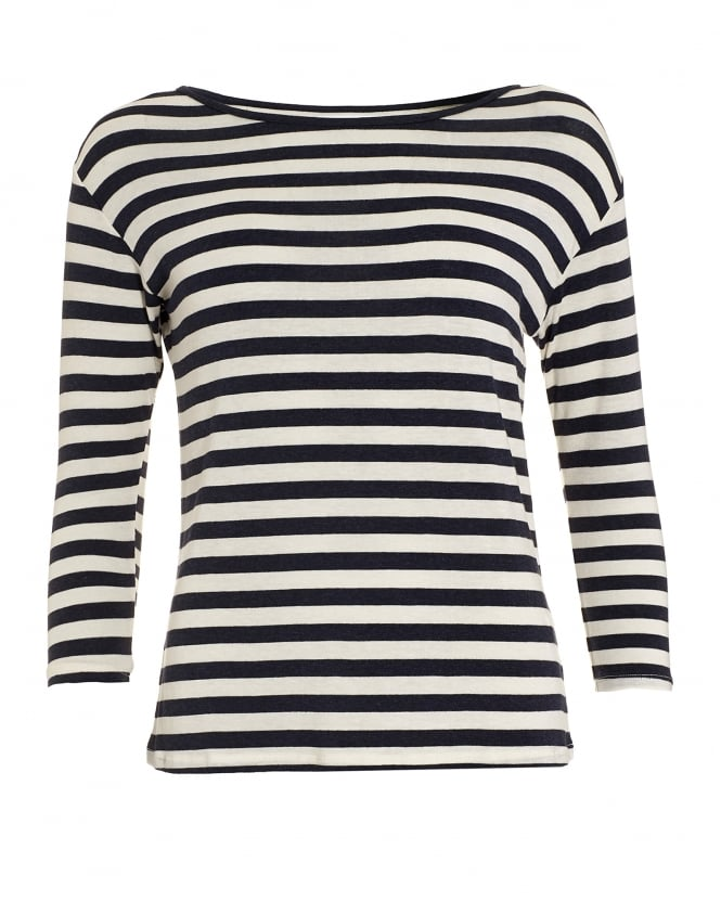 Velvet by Graham & Spencer Womens Glenda Striped Navy Cream Breton Top