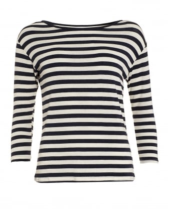 Womens Glenda Striped Navy Cream Breton Top