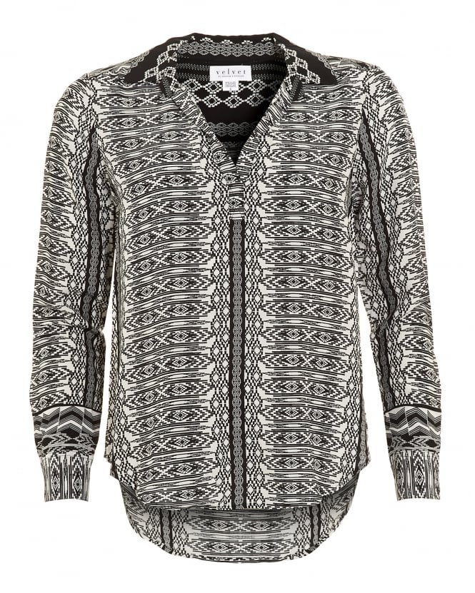 Velvet by Graham & Spencer Womens Leonie Challis Blouse, Black Diamond Print Shirt