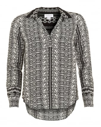 Womens Leonie Challis Blouse, Black Diamond Print Shirt