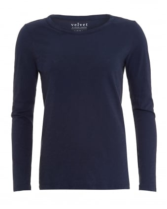 Womens Lizzie T-Shirt, Navy Blue Long Sleeve Tee
