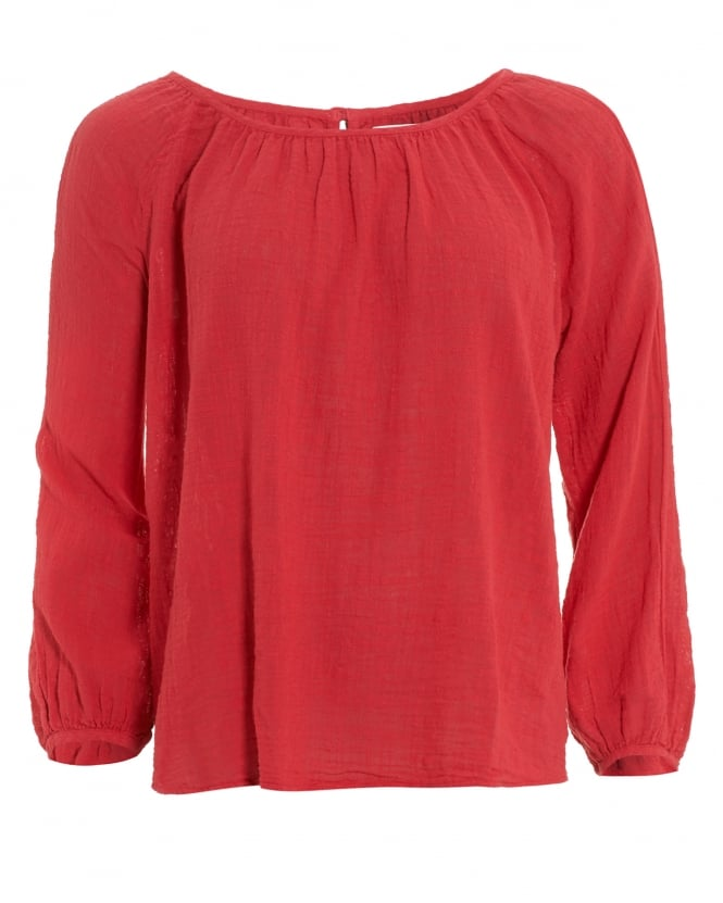 Velvet by Graham & Spencer Womens Marcelle Top, Red Ruched Blouse