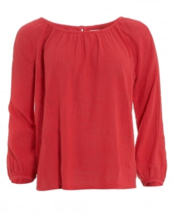 Womens Marcelle Top, Red Ruched Blouse