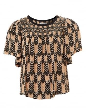 Womens Mazie Art Deco Print Black Beige Top