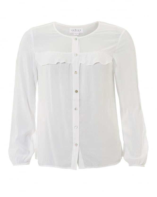 Velvet by Graham & Spencer Womens Paisley Collarless Frill White Shirt