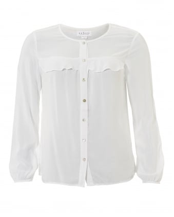 Womens Paisley Collarless Frill White Shirt