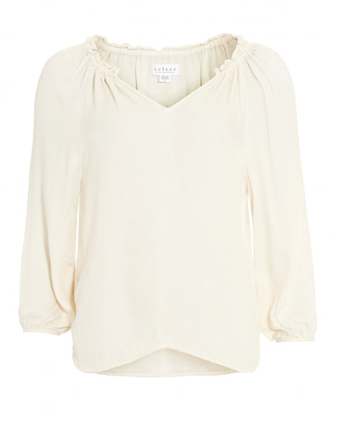Velvet by Graham & Spencer Womens Phyllis Blouse, Beige Moon Peasant Top