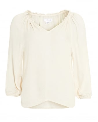 Womens Phyllis Blouse, Beige Moon Peasant Top