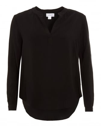 Womens Rosie 03 Challis Blouse, Black V-Neck Shirt