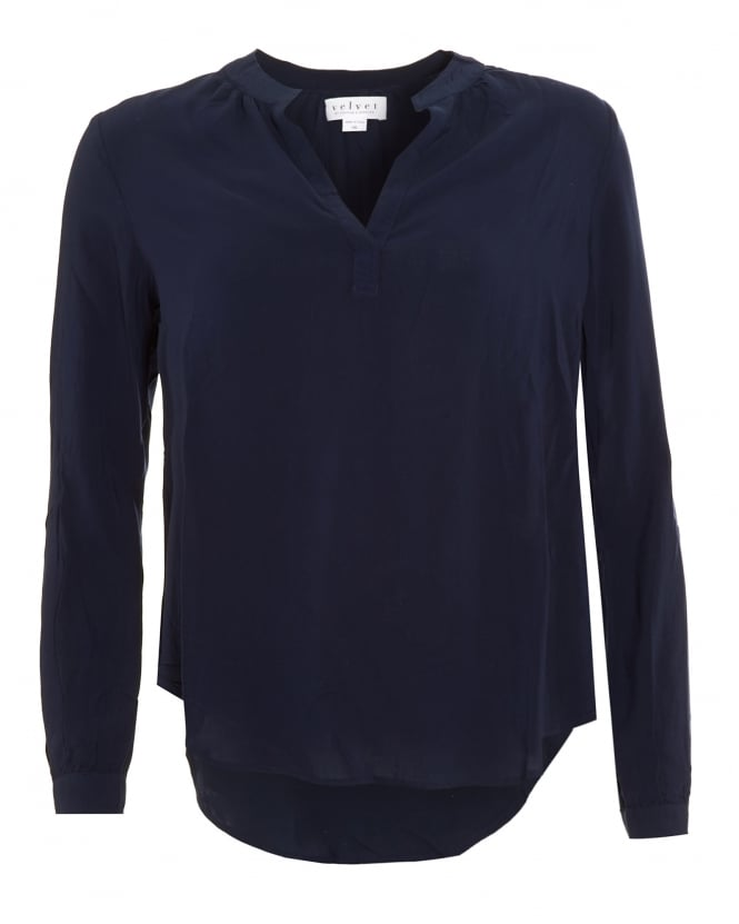 Velvet by Graham & Spencer Womens Rosie 03 Challis Blouse, Navy Blue V-Neck Shirt