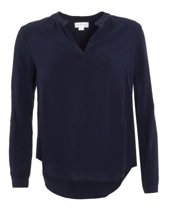 Womens Rosie 03 Challis Blouse, Navy Blue V-Neck Shirt