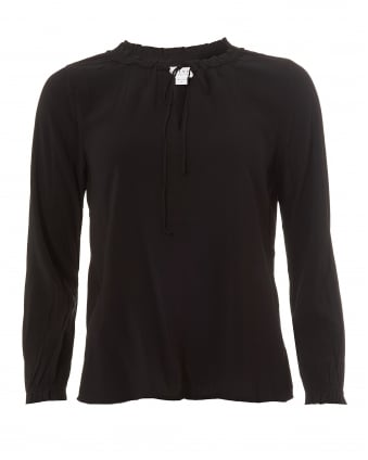 Womens Samantha Blouse, Frill Black Top