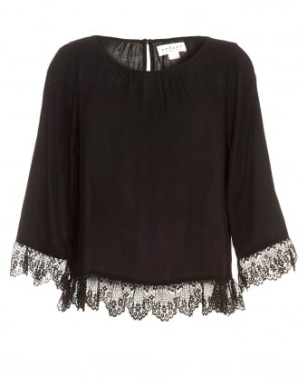 Womens Schanelle Top, Black Lace Blouse