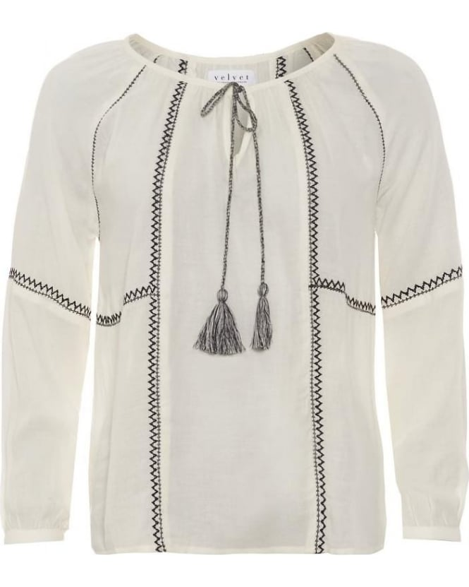 Velvet by Graham & Spencer Womens Shirt Shavanni Off White Peasant Blouse