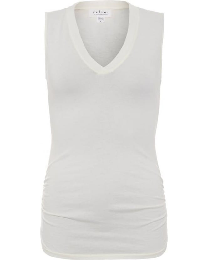 Velvet by Graham & Spencer Womens Top V Neck Geena Gauzy Whisper Bone Tank Top