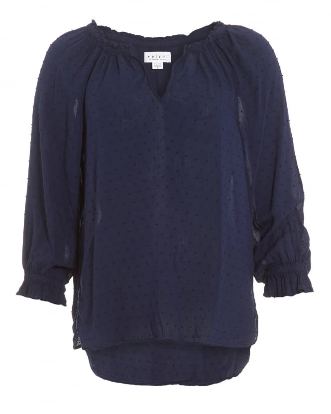 Velvet by Graham & Spencer Womens Vincianna Top, Navy Blue Blouse