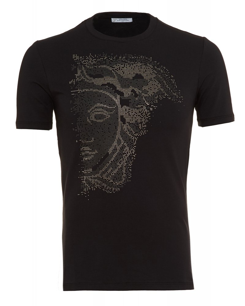 Men s Versace Collection Black Slim Fit T-Shirt With Diamante Medusa 0ed3e6985b5