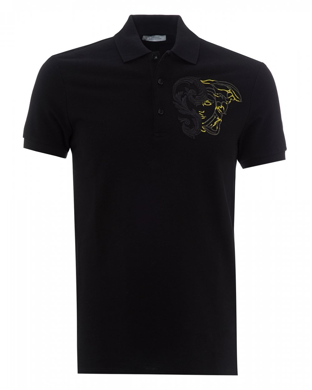 7f908a005d76 Versace Collection Mens Embroidered Half Medusa Polo, Black Polo Shirt