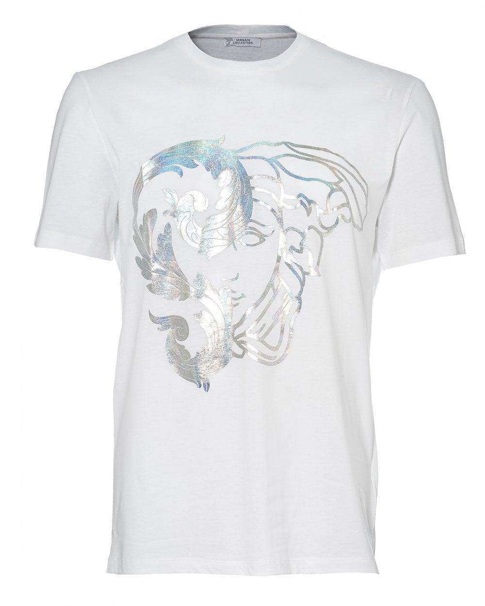 45261fdf Versace Collection Mens Foil Half Medusa T-Shirt, White Tee
