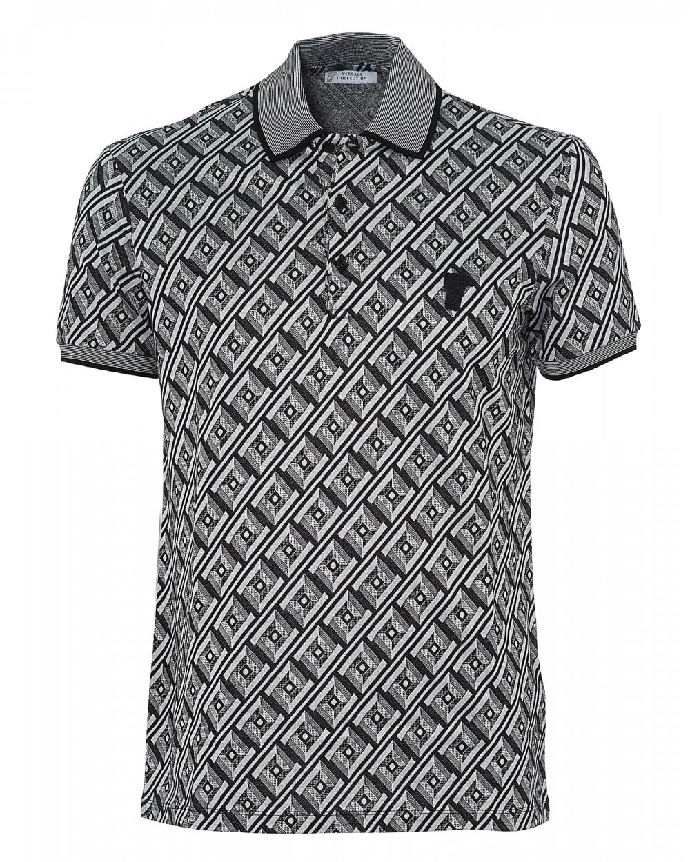 41cff31e925e Versace Collection Mens Frame Print Polo, Black White Polo Shirt