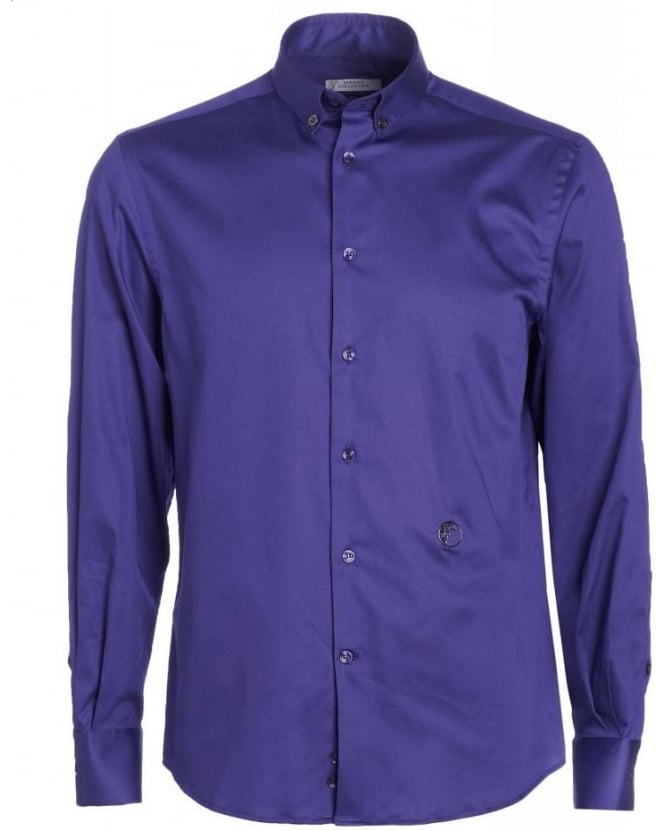 Versace Collection Purple Plain Button Down Shirt