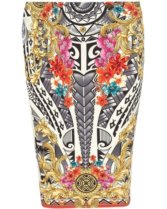 Versace Collection Skirt White Floral Print Jersey Scroll Skirt