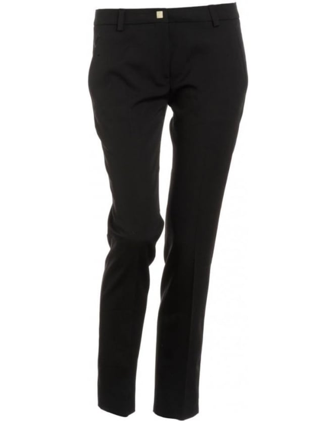 Versace Collection Trousers, Black Cropped Stretch Trousers