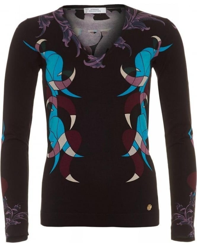 Versace Collection V-Neck Futurismo Barocco Printed Silk Blend Jumper