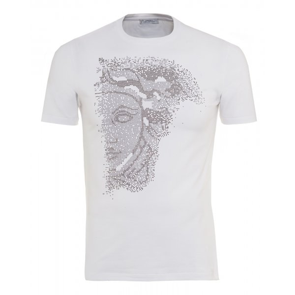 Men s Versace Collection White Slim Fit T-Shirt With Diamante Medusa 3a7ee165dd0