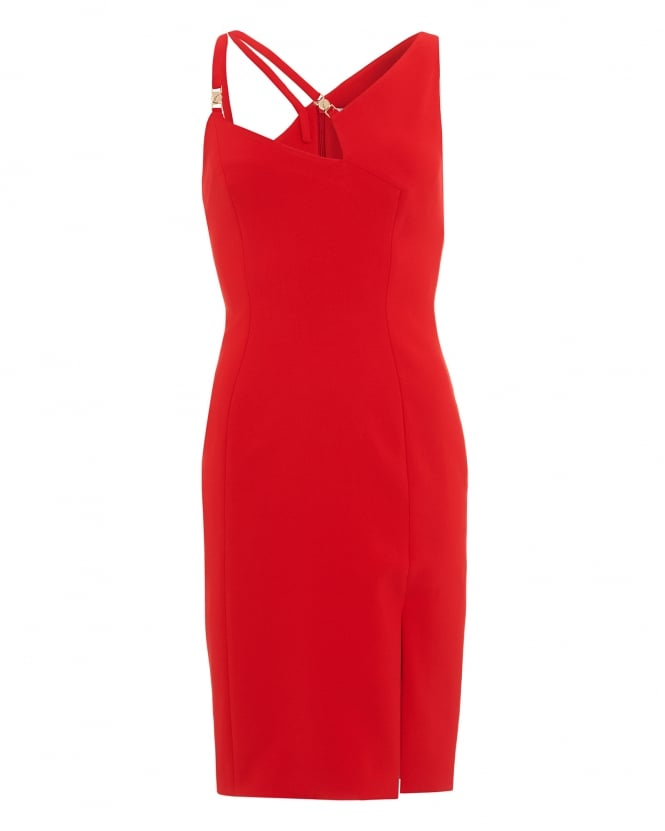 Versace Collection Womens Dress, Asymmetric Red Cut Out Strap Dress