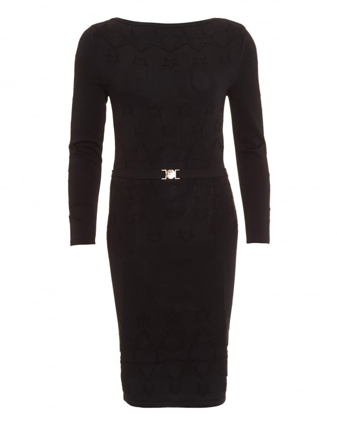 Versace Collection Womens Dress, Long Sleeve Black Knitted Dress