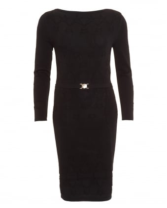 Womens Dress, Long Sleeve Black Knitted Dress