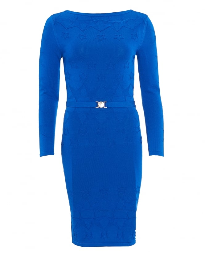 Versace Collection Womens Dress, Long Sleeve Cobalt Blue Star Knitted Dress