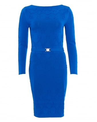 Womens Dress, Long Sleeve Cobalt Blue Star Knitted Dress