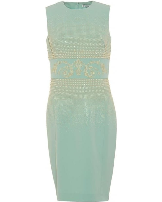 Versace Collection Womens Dress Studded Aqua Turquoise Sleeveless Midi