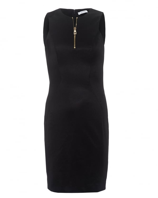 Versace Collection Womens Gold Zip Front Sleeveless Black Dress