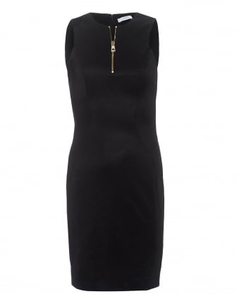 Womens Gold Zip Front Sleeveless Black Dress