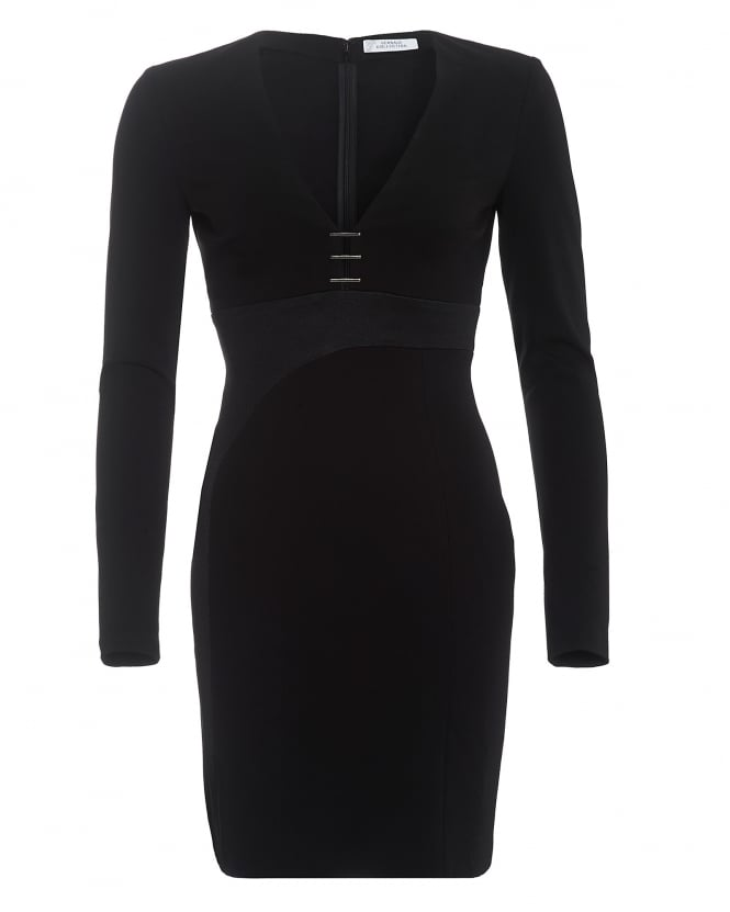 Versace Collection Womens Staple Detail Long Sleeved Black Dress