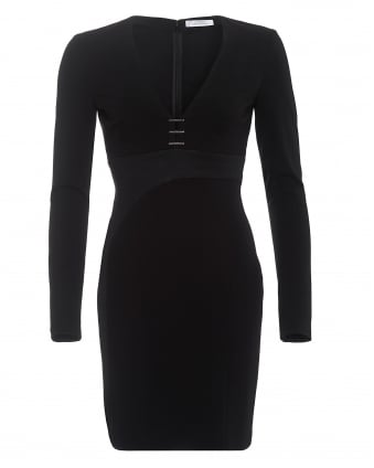 Womens Staple Detail Long Sleeved Black Dress
