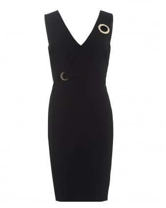 Womens V-Neck Eyelet Detail Black Dress
