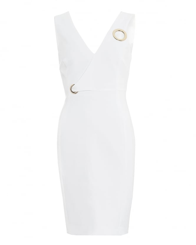 Versace Collection Womens V-Neck Eyelet Detail White Dress