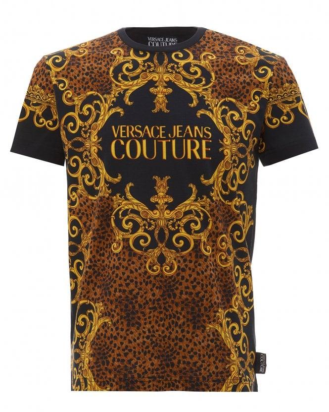 Versace Jeans Couture Mens Baroque/Leopard Print T-Shirt, Slim Fit Logo Tee