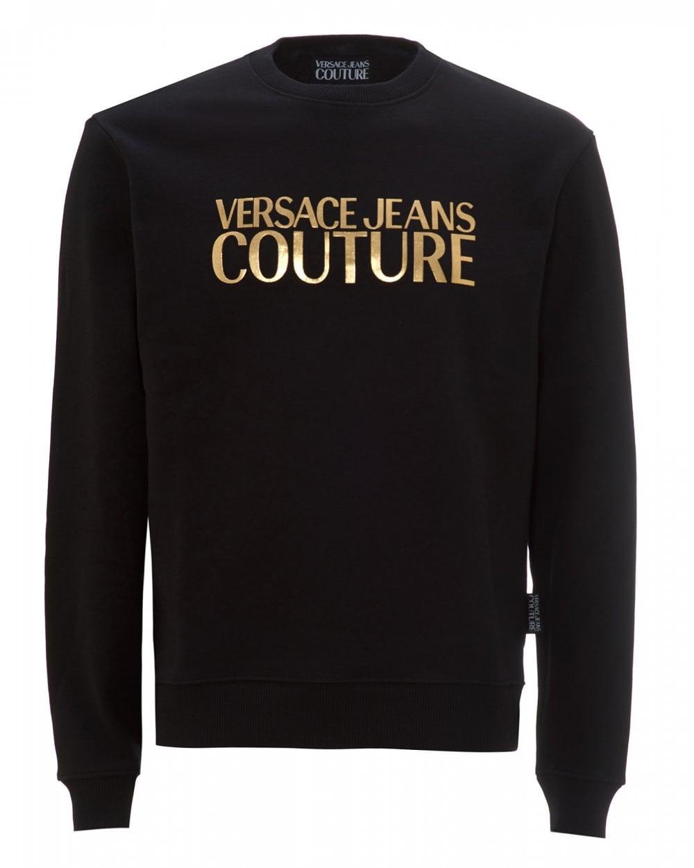 Mens Gold Logo Sweatshirt, Black Sweat