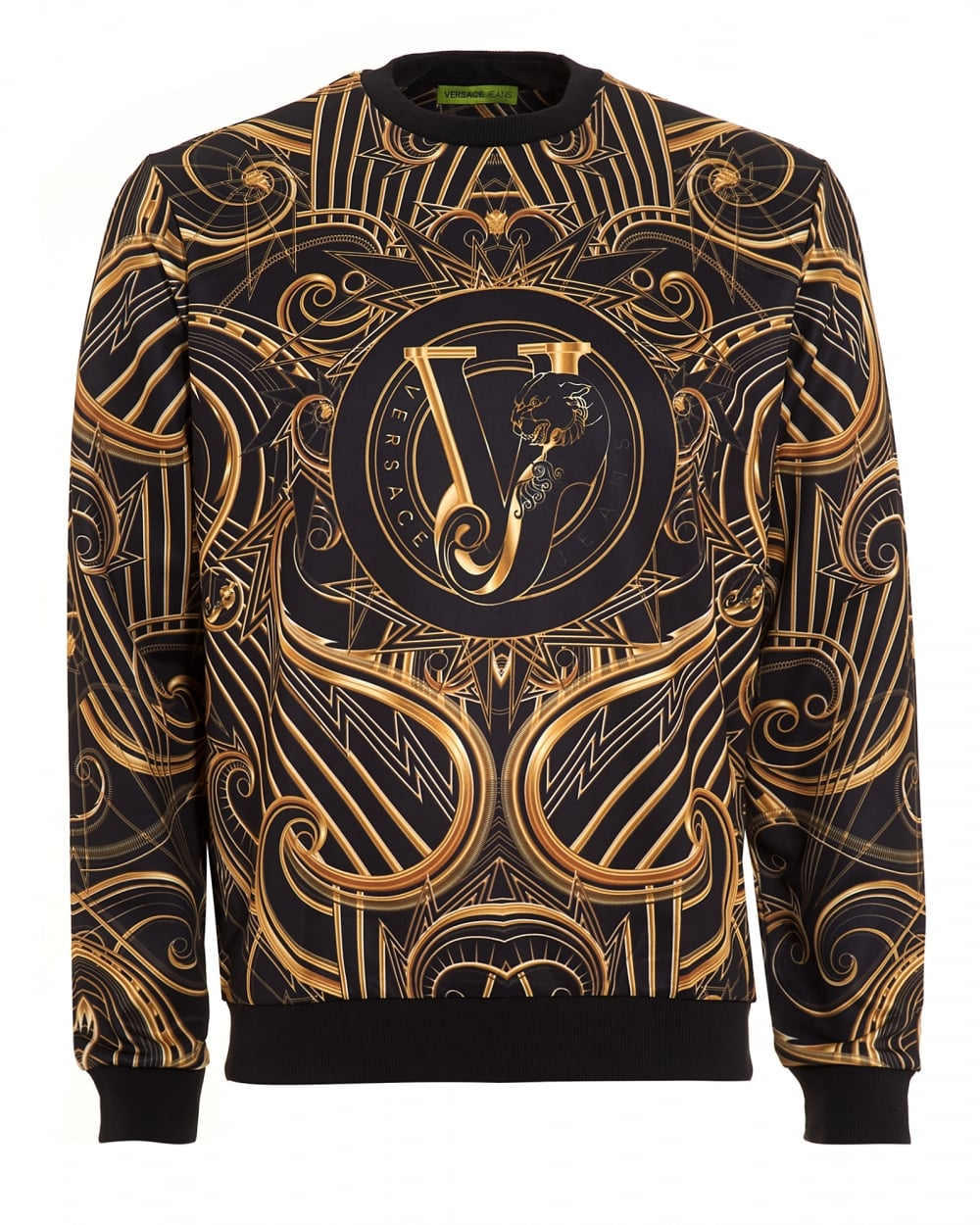 Versace Jeans Mens All-Over Baroque Logo Black Sweatshirt bd309493bcd