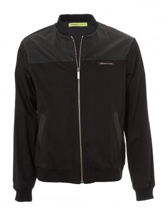 Mens Back Logo Bomber, Black Faux Leather Jacket
