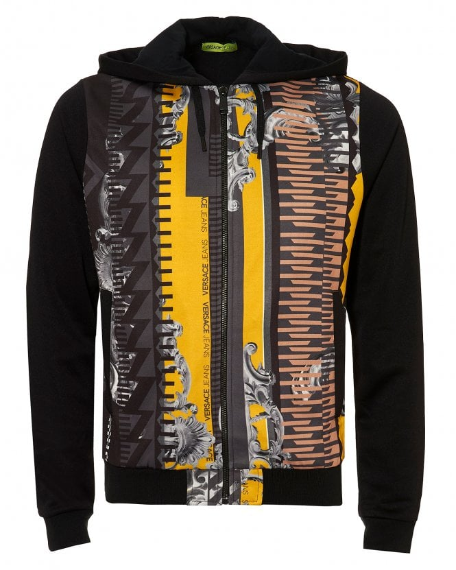 Versace Jeans Couture Mens Baroque Print Hoodie, Slim Fit Black Yellow Hooded Sweat